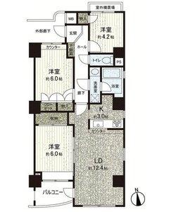 江東区亀戸コスモ亀戸アネックス3799万円の間取り図