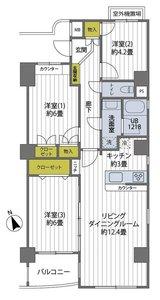 江東区亀戸コスモ亀戸アネックス3780万円の間取り図