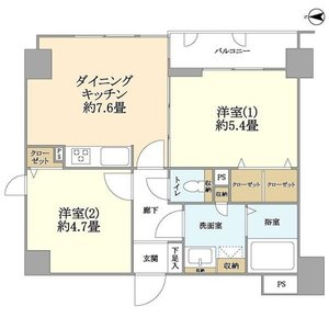 江東区亀戸クレアメゾン天神橋2980万円の間取り図