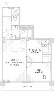 渋谷区恵比寿南日商岩井恵比寿マンション6490万円の間取り図