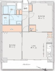 目黒区中目黒マンション第2恵比須苑4880万円の間取り図
