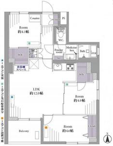 新宿区下落合目白ビル3499万円の間取り図