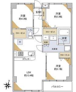 台東区上野桜木上野の森リリエンハイム4999万円の間取り図