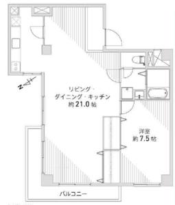 渋谷区恵比寿南日商岩井恵比寿マンション5580万円の間取り図