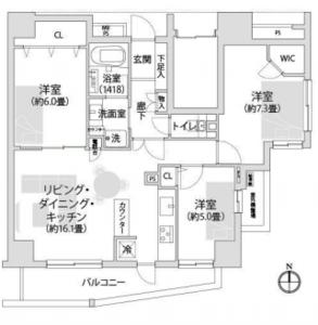 江東区東陽ライオンズシティ東陽町親水公園の間取り図