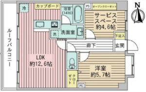 台東区西浅草ライオンズシティ浅草4380万円の間取り図
