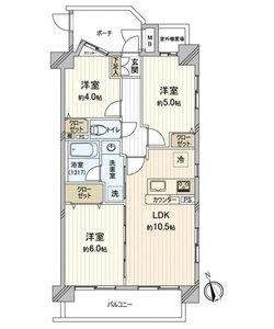 台東区西浅草アーバンスクエア浅草4780万円の間取り図