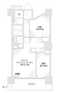 台東区西浅草浅草タワーの間取り図