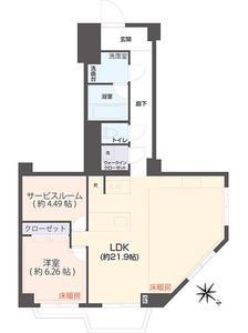 千代田区一番町コープ野村一番町8980万円の間取り図