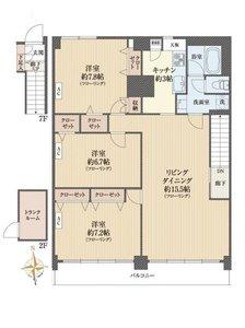 新宿区弁天町クレセントマンションの間取り図