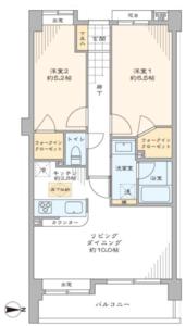 杉並区高円寺南ライオンズマンション中野桃園5187万円の間取り図