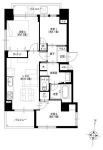 墨田区江東橋シティポート錦糸町24599万円の間取り図